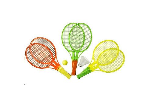 set van 2 tennis rackets met pluim en bal