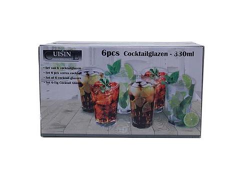 set van 6 cocktailglazen in doos