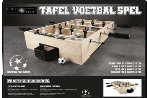 tafelvoetbalspel hout 51x30x10cm