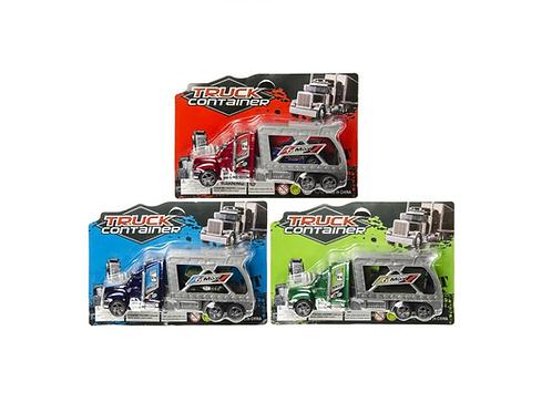 vrachtwagen + auto op kaart 21.5X15X5CM
