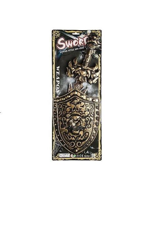 zwaard met schild op kaart 21.5x58cm