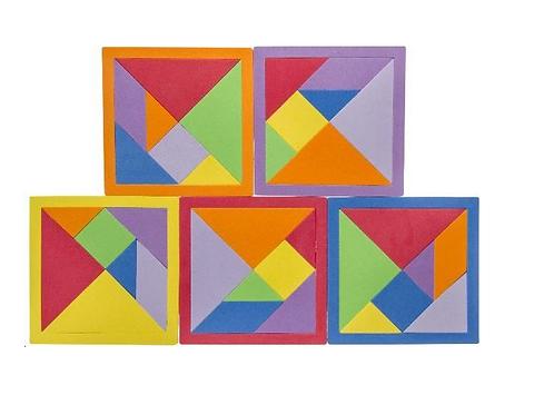 tangram IQ puzzel in foam 15.5 x 15.5cm