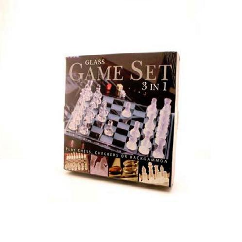 glazen schaakspel 3 in 1, 35x35cm