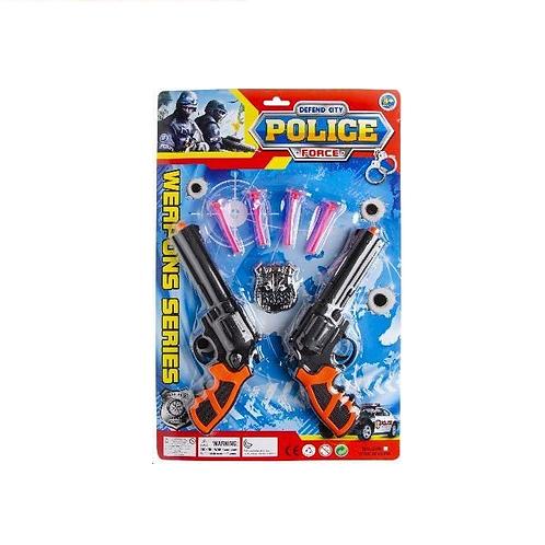 politie set 2 pistolen op kaart  43.5x28.5cm