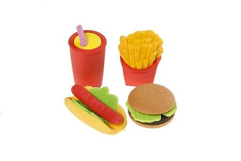 set van 4 gommetjes fast food