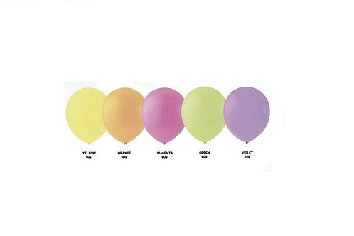 100 ballonnen neon 30cm.,per kleur