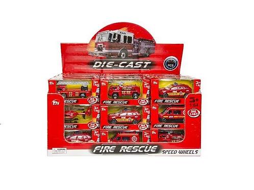 brandweervoertuig metaal in doos 10.5x5x4cm