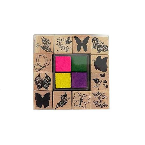 set van 12 houten stempel en 4 inkt kussen