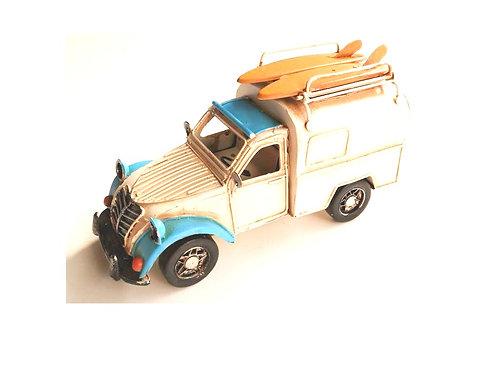metaal auto busje met fotokader 20cm