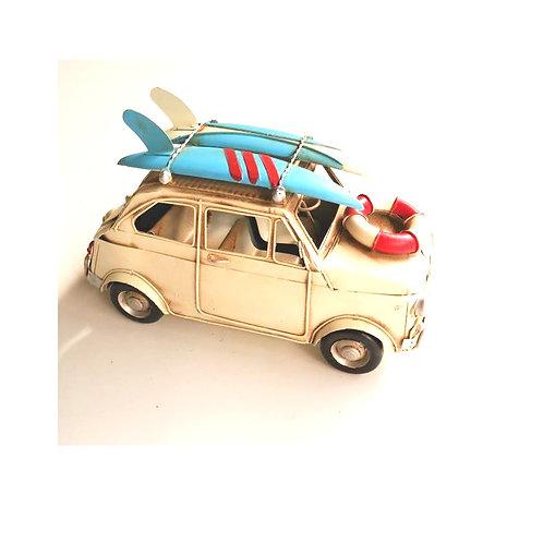 metaal auto met surfplank 26cm