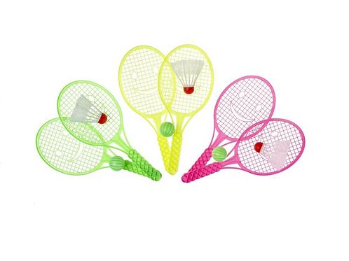 tennis setje +bal en veertje 27.5x11.5cm