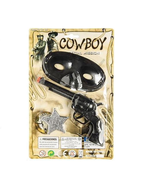 cowboy pistool met masker/badge 28X19CM