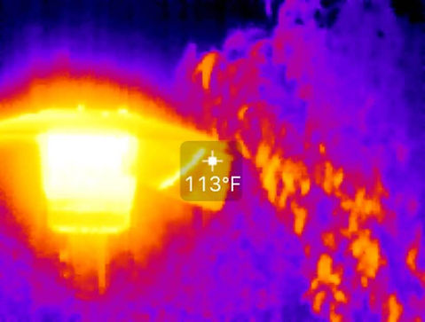 Infrared Image of Wasted Patio Heater Heat