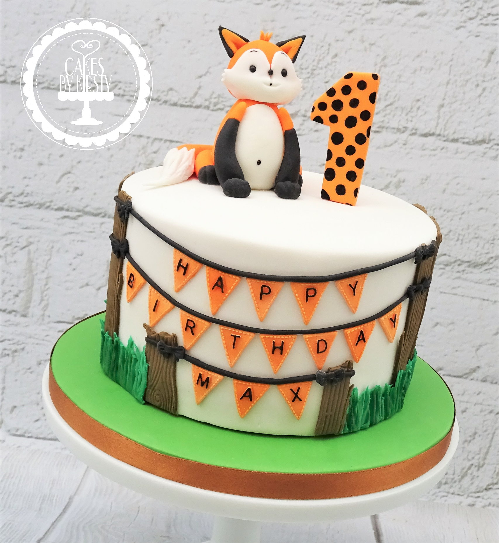 Woodland Fox 1st Birthday Cake