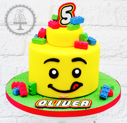 Lego Minifigure Head 5th Birthday Cake