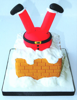 Santa Stuck Up The Chimney Cake