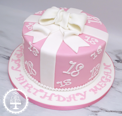 18th Present with Bow Birthday Cake