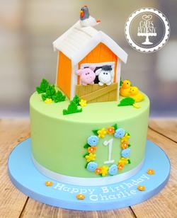 Farmhouse 1st Birthday Cake
