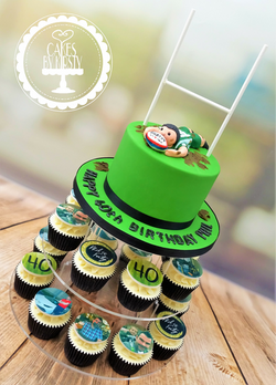 Rugby Cake with Hobby Cupcakes
