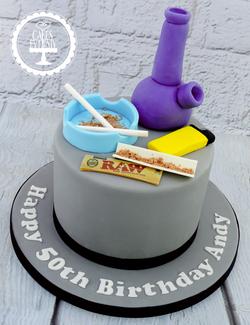 Smoking 50th Birthday Cake