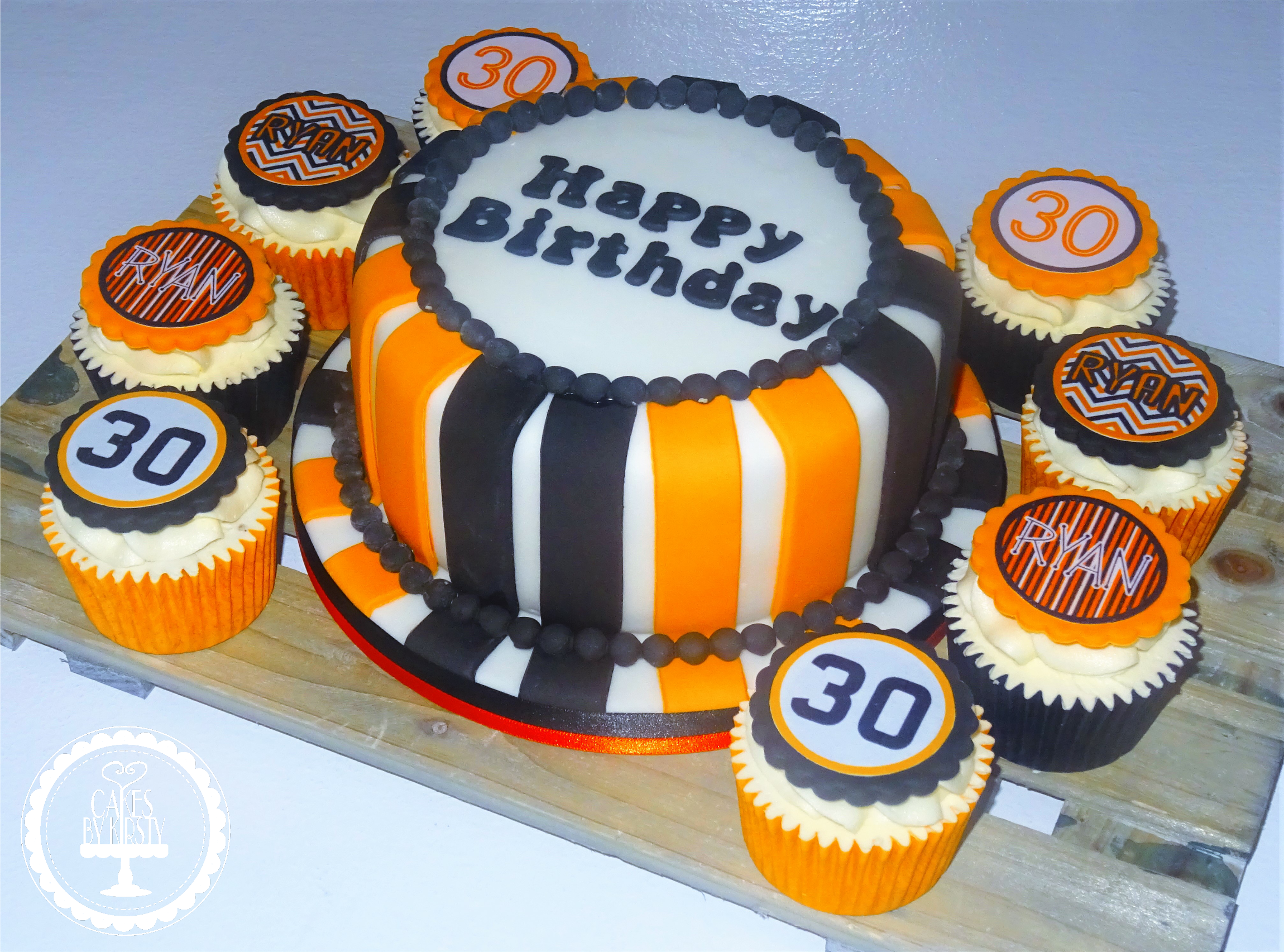 30th Black & Orange Cake