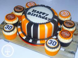 30th Black & Orange Cake