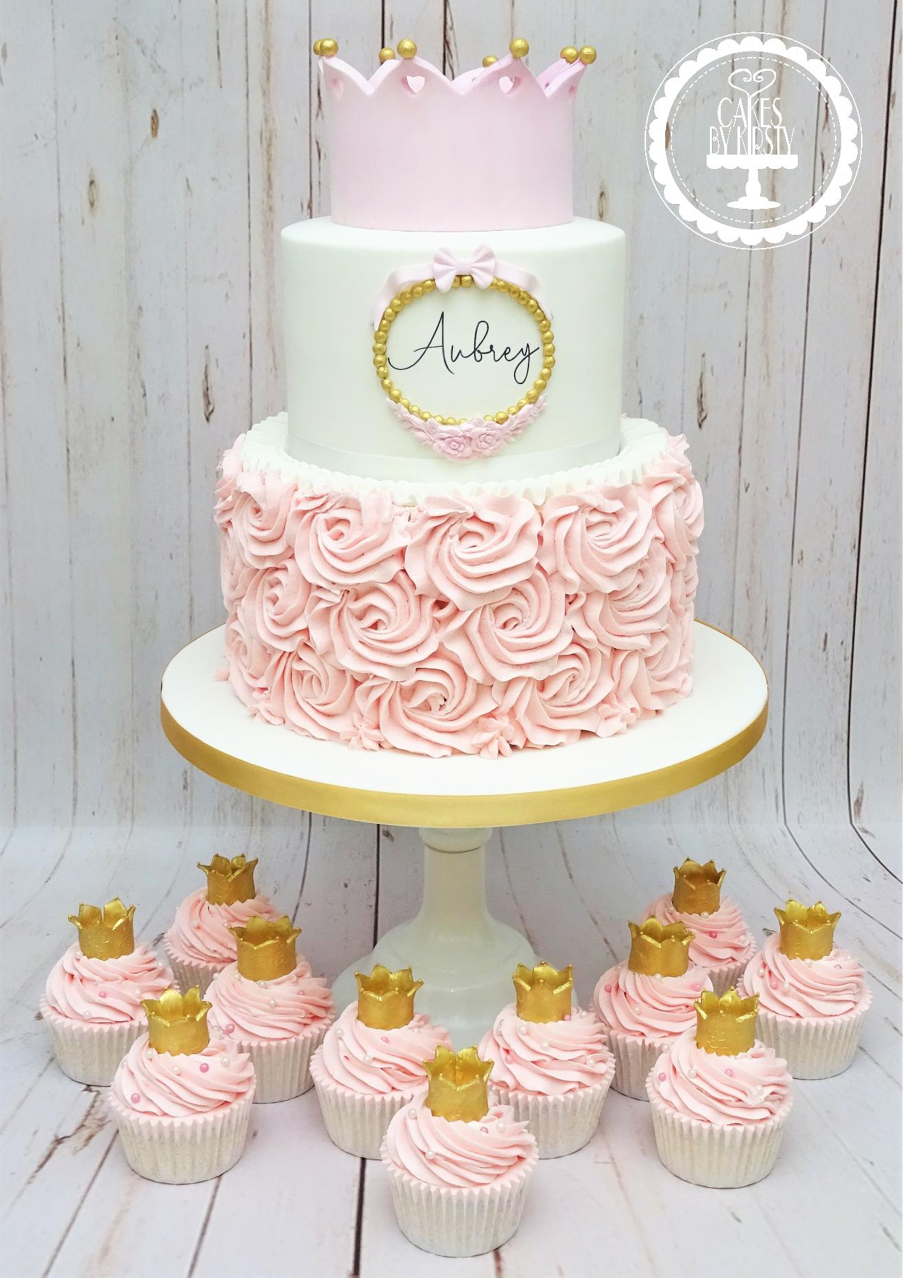 Princess Crown 1st Birthday Cake & Cupca
