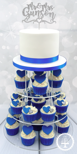 Hearts Wedding Cake & Cupcakes