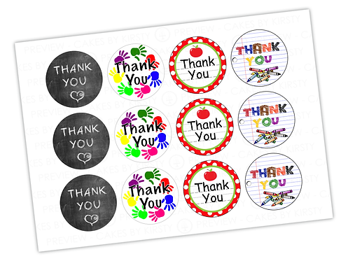 Thank You Teacher - Set 1 - 12x 2.25""