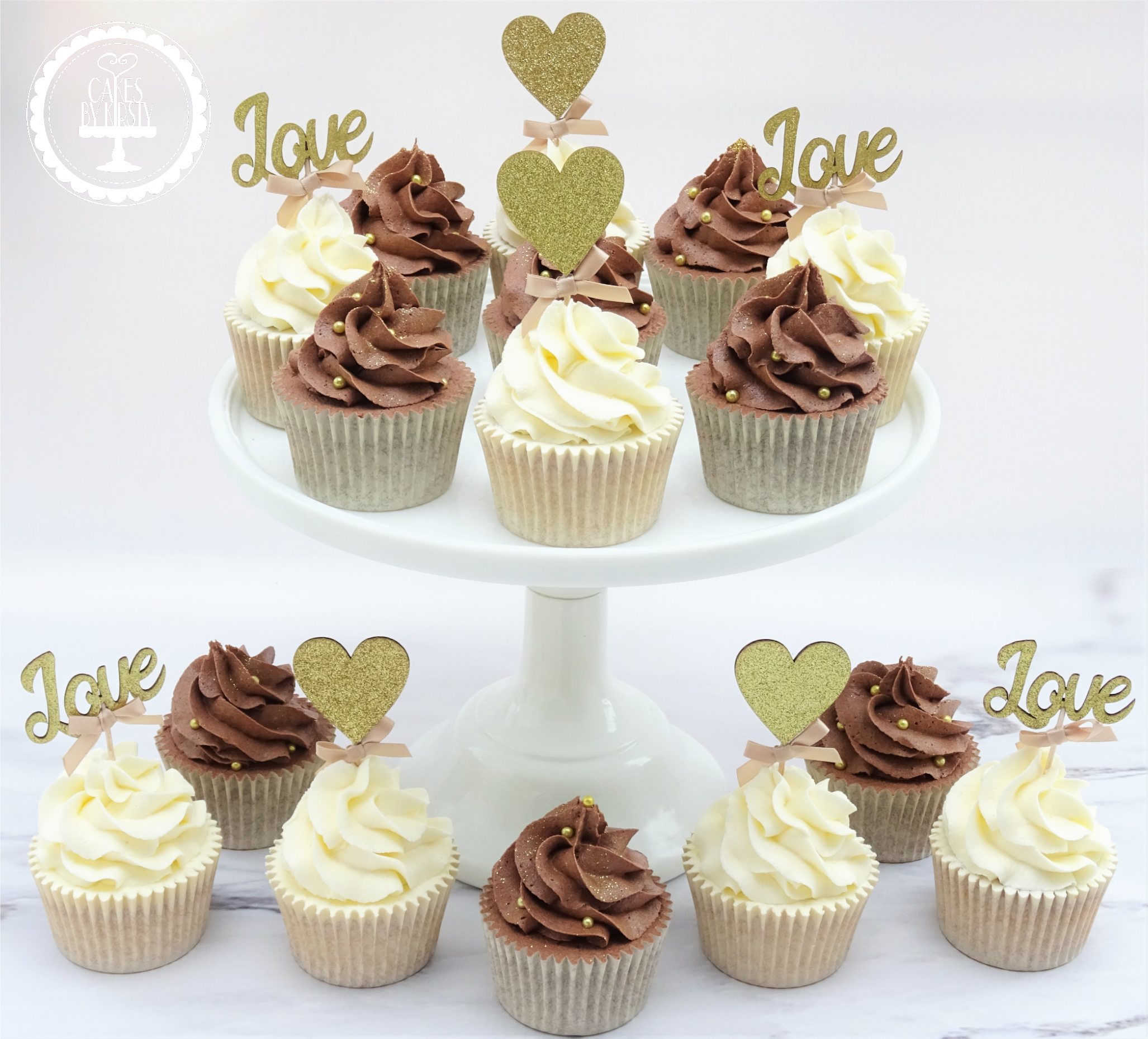 Love & Heart Wedding Cupcakes