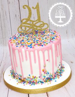 21st Confetti Drip Cake