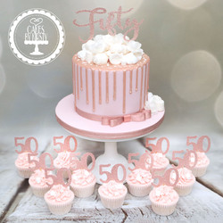 20200104 - Fifty Rose Gold Cake & Cupcak
