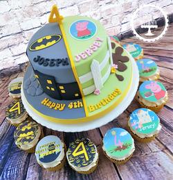 Batman & Peppa Pig Twin Cake