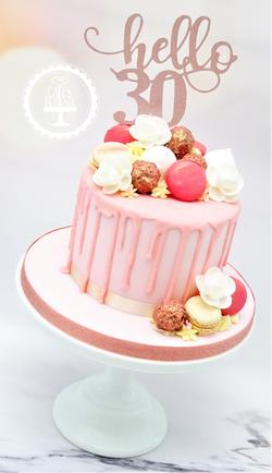 30th Birthday Macaroon Drip Cake