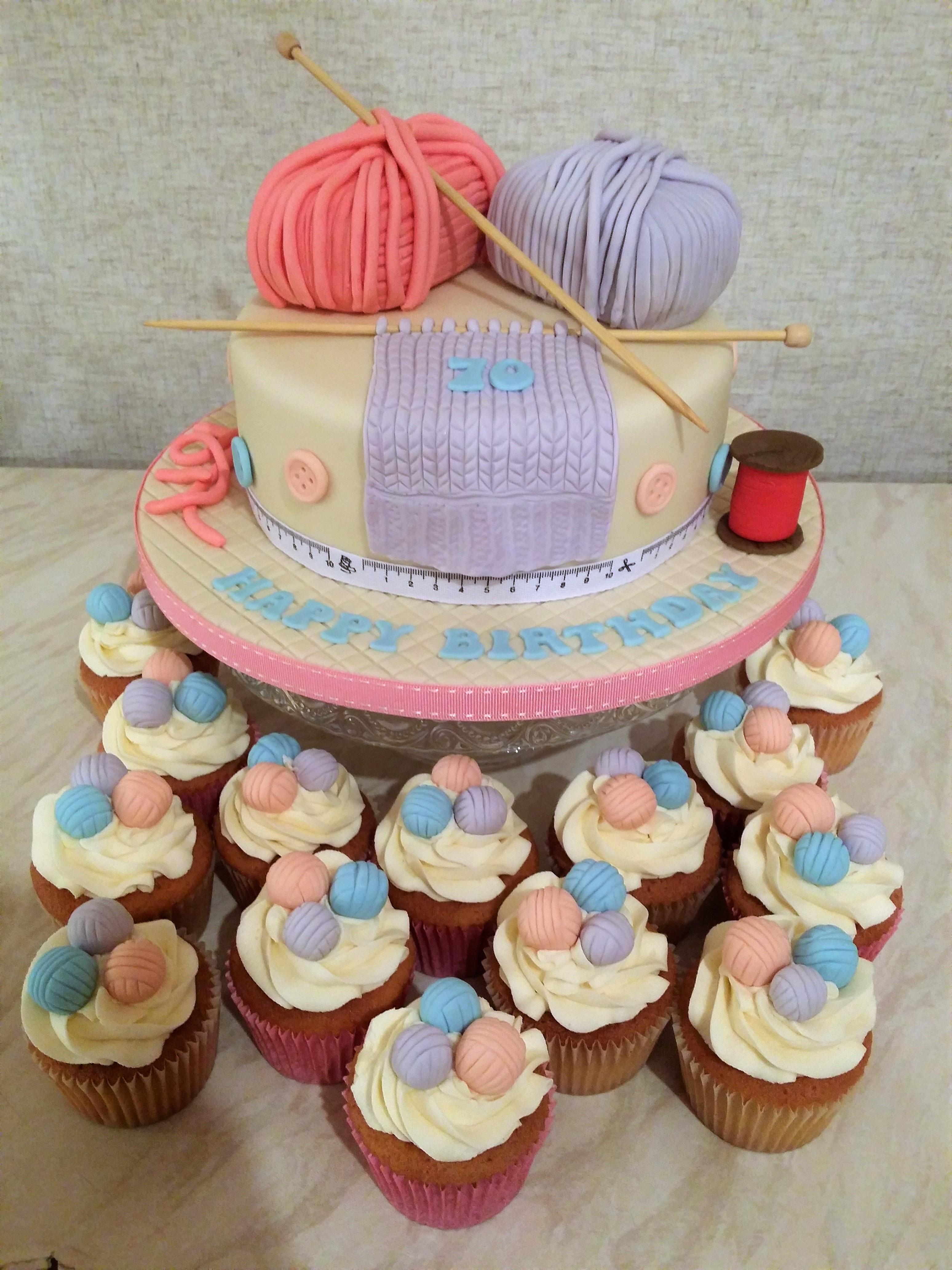 Knitting Cake & Cupcakes