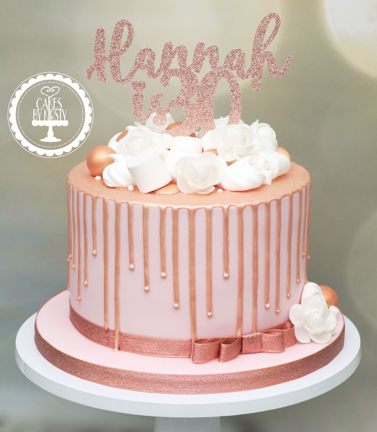 20191116 - Rose Gold 30th Drip Cake