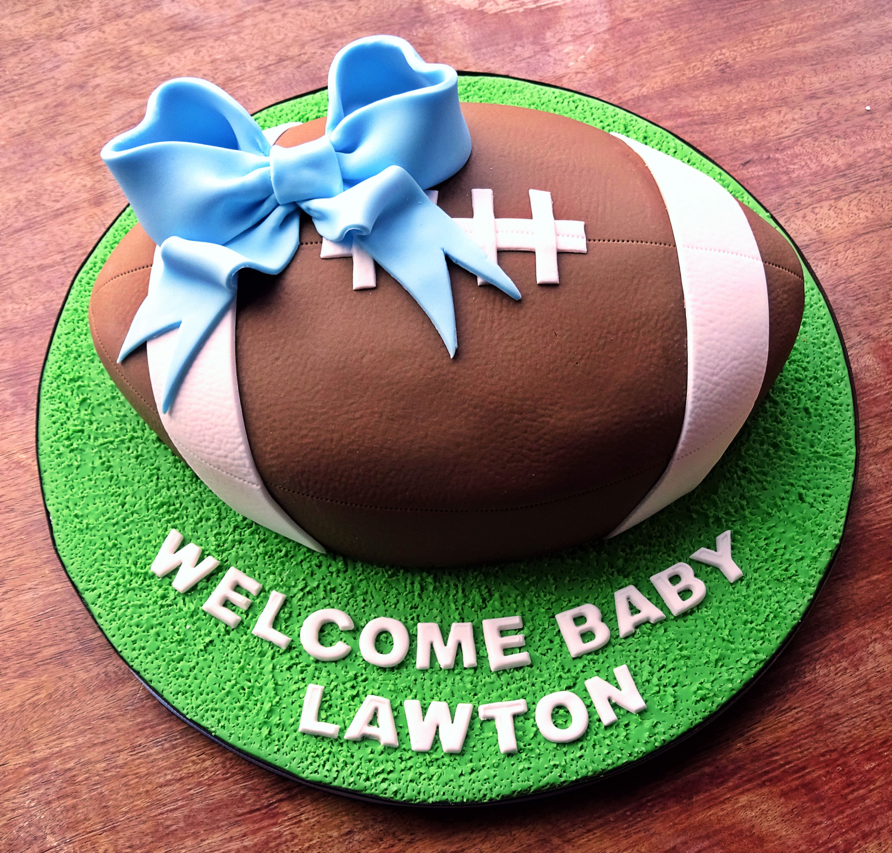 Baby Shower Rugby Ball Cake