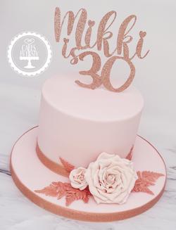 Rose Gold 30th Birthday Cake