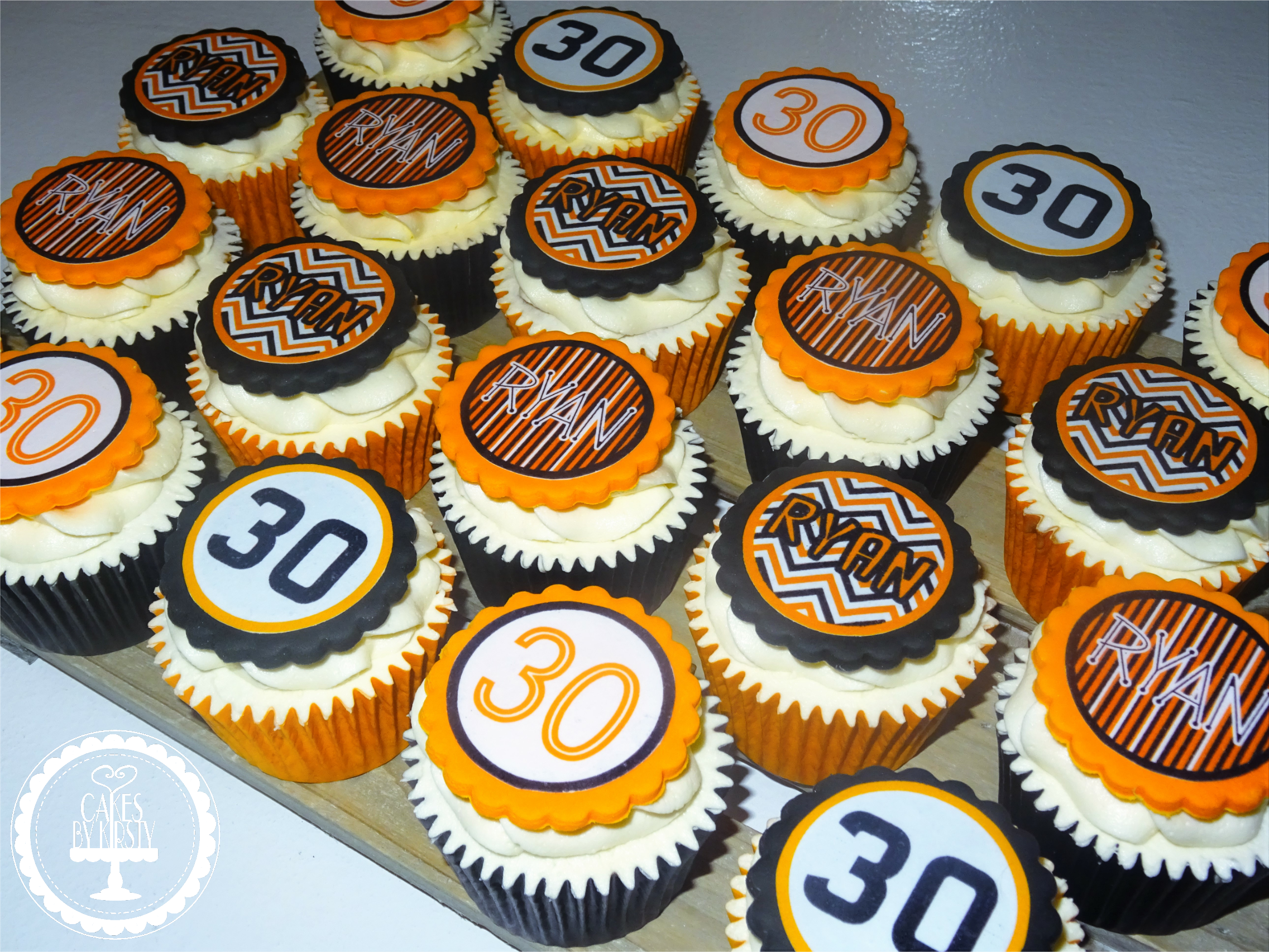 30th Black & Orange Cupcakes