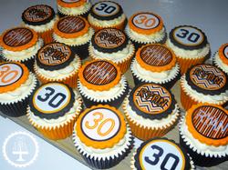 30th Black & Orange Cupcakes