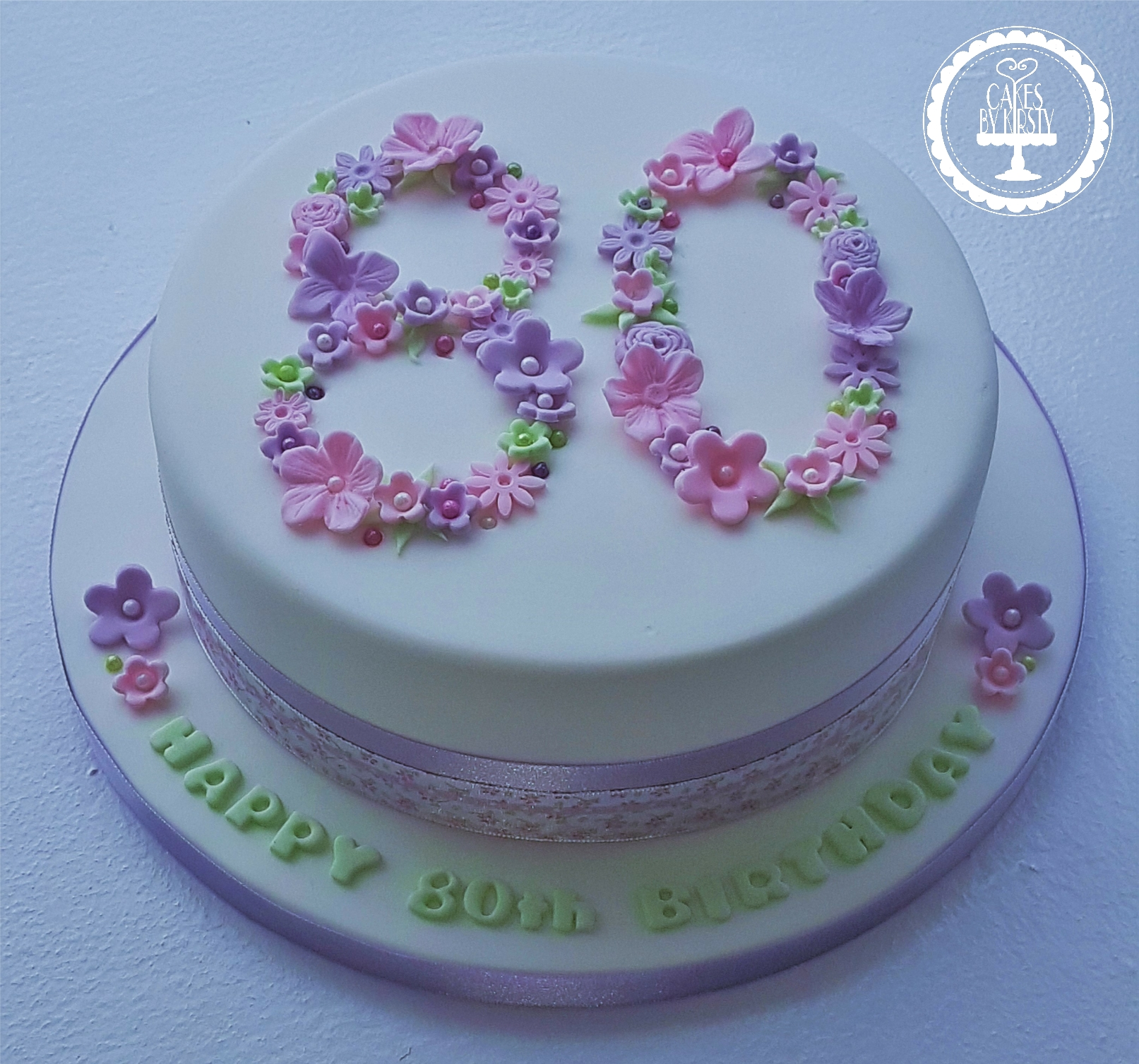80th Floral Cake