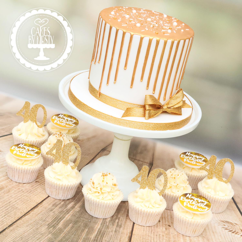 20191116 - Gold Drip Cake & Cupcakes
