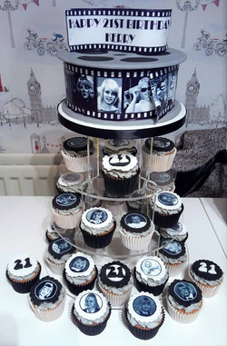 Photo Reel Cake & Cupcakes
