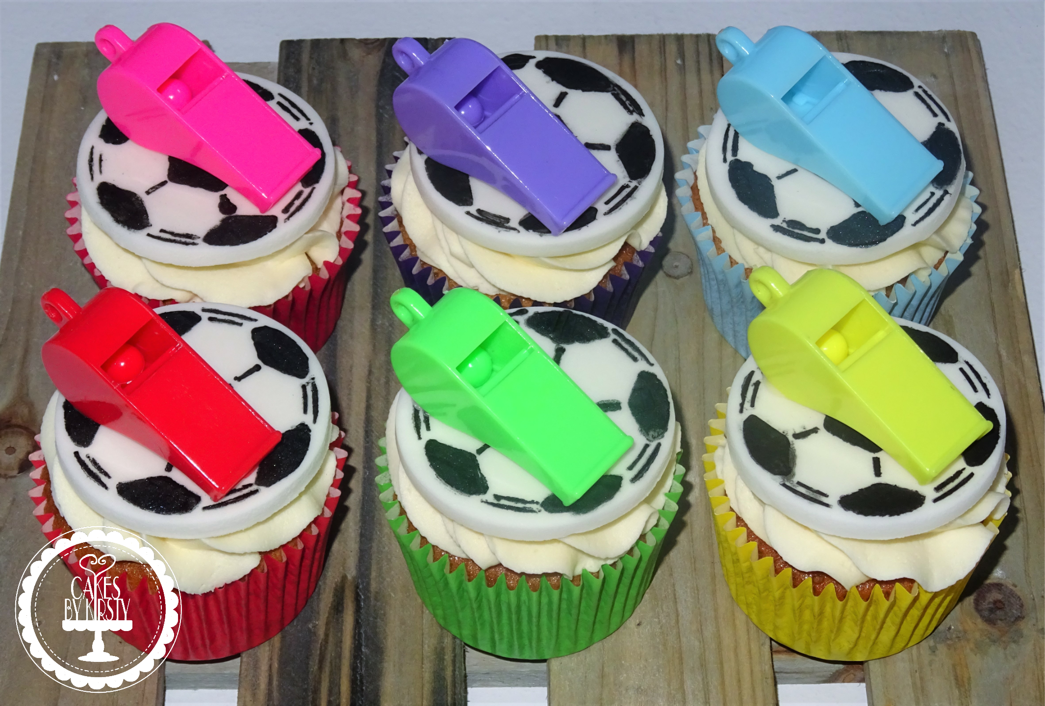 Football Cupcakes with Whistles