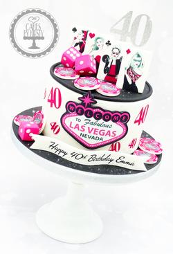 Pink Las Vegas 40th Birthday Cake