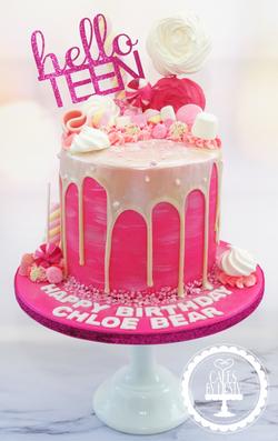 Pink Drip Cake - 13th Birthday