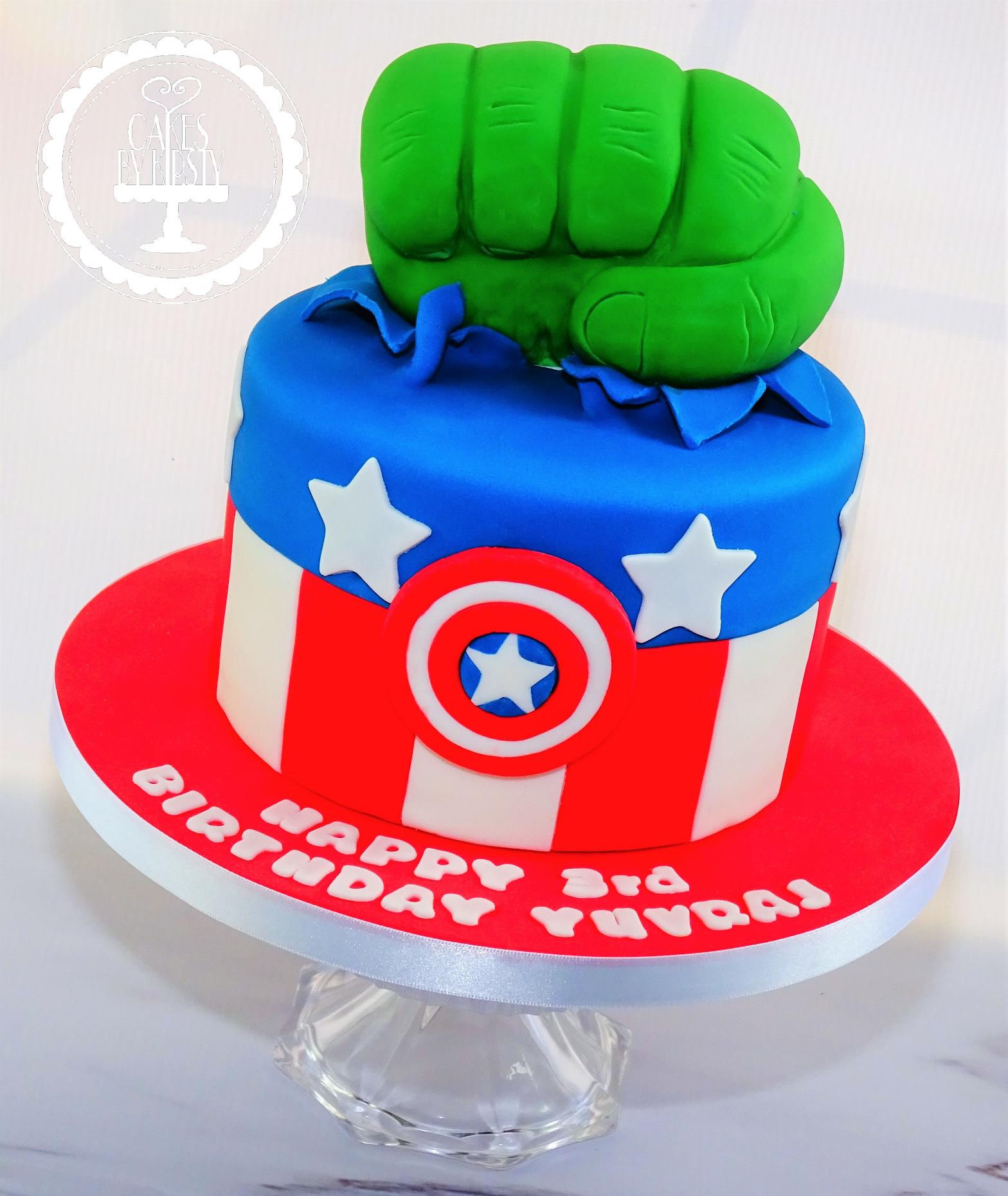 Hulk & Captain America Avengers Cake
