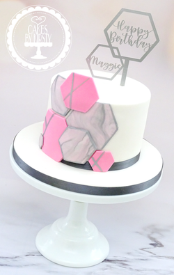 Abstract Hexagon Cake with Topper