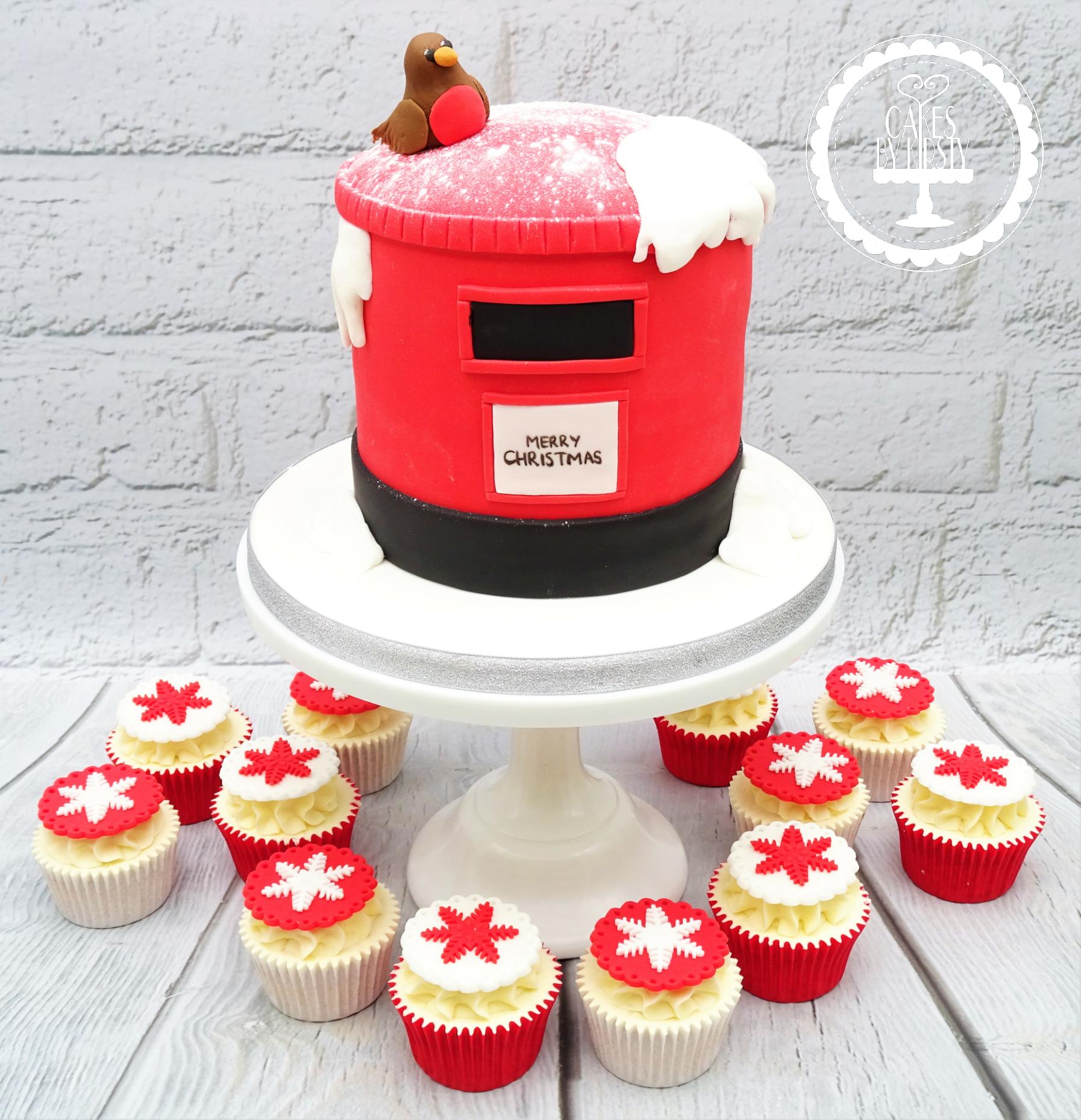 Christmas Postbox Cake & Snowflake Cupca