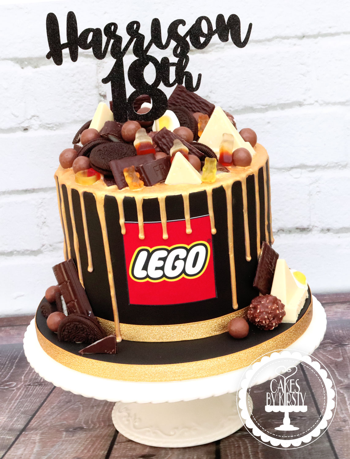 20200111 - Black & Gold 18th Drip Cake